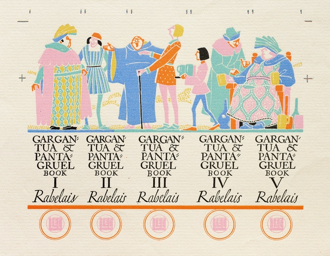 Labels designed by Dwiggins for the spines of a five-volume publication, Limited Editions Club, 1936
