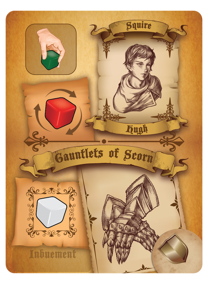 Example of Squire and Equipment Card