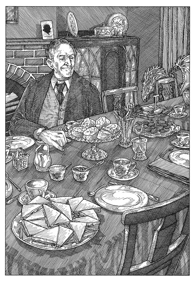 Tolkien at tea at C.S. Lewis' house, the Kilns
