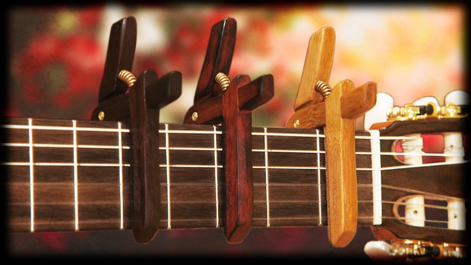 Hand Crafted Wooden Guitar Ukulele Capos By Leonardo Gulli