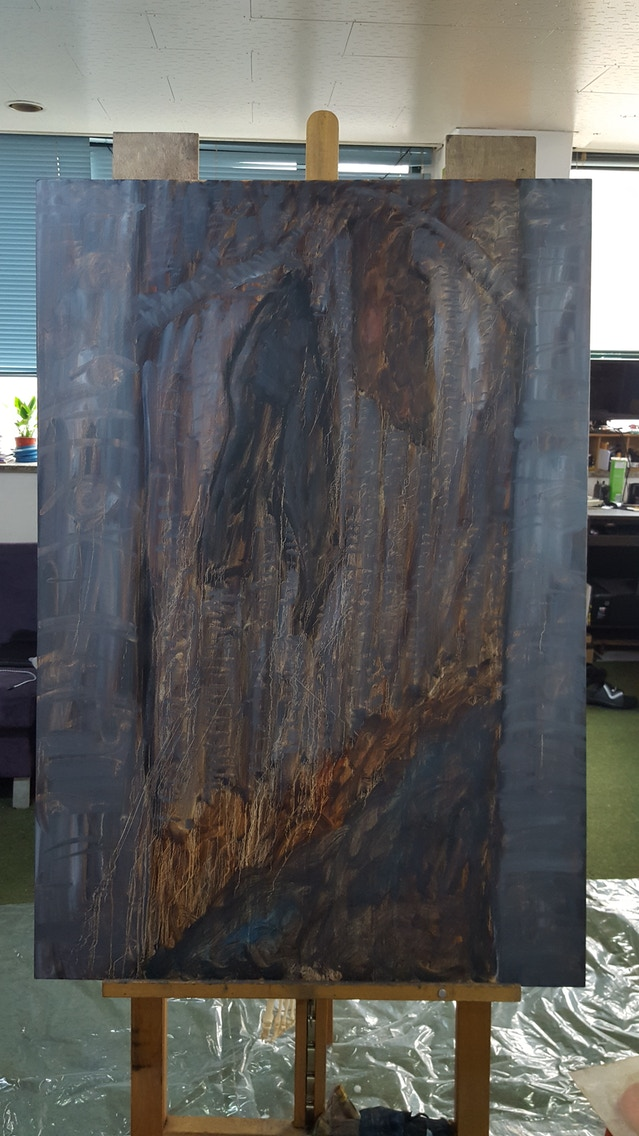 Caveat: All paintings look pretty ugly in the beginning stages. I promise you it will look 100x better upon completion!