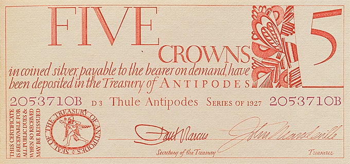 "Sample engraved banknote Dwiggins designed for ""Towards a Reform of the Paper Currency,"" 1932"