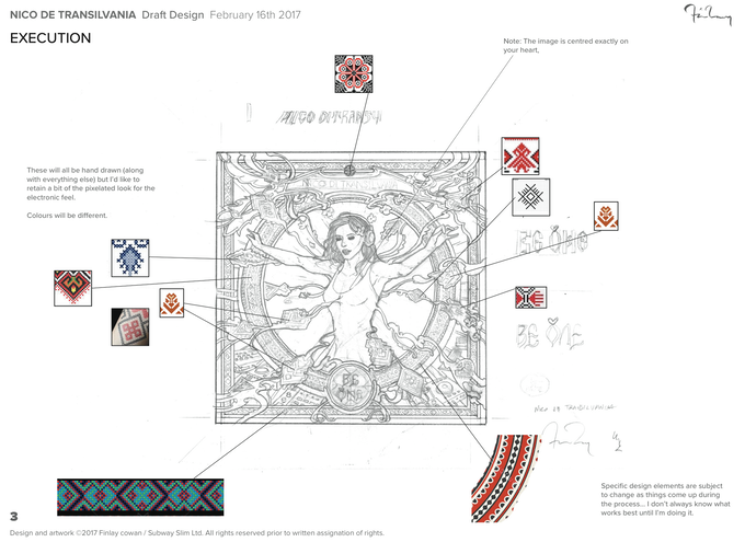 Draft copy of the artwork designed by Finlay