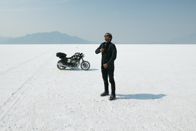 Suiting up for speed tests on the Bonneville Salt Flats.