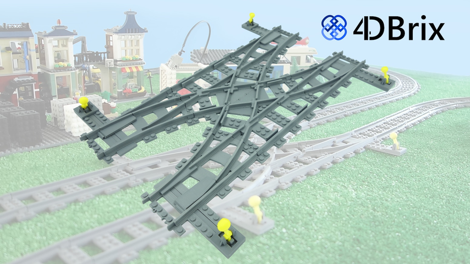 System of 3D printed LEGO compatible track parts which can be assembled in different ways to create manual or motorized combinations