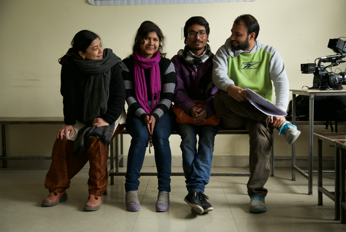The Marriage Cops crew.  From left to right:  Shashwati Talukdar (Co-director), Monika Deshwal (Associate Producer), Sagar Gusein (Production Manager), Sanjay Malakar (Sound Recordist), Cheryl Hess' camera