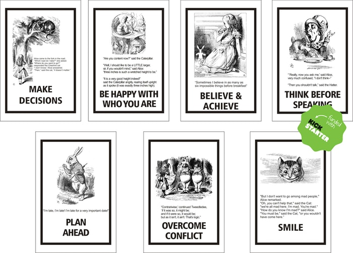 Re-visiting Alice in Wonderland, got me thinking about the positive messages. I'm making a set of seven 4x6 panels with original art.