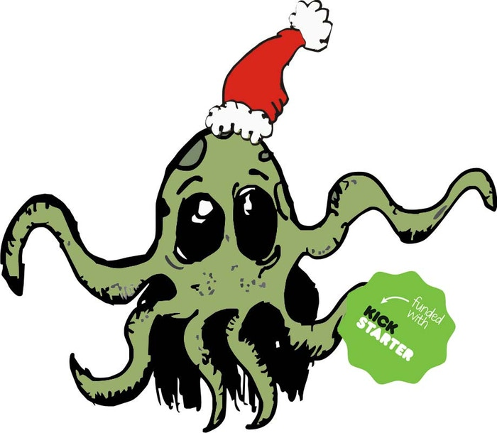 """Because even the Ultimate Evil likes presents. 3"""" sticker featuring Yuletide Cthulhu. 1 Hit Wonder . 1 week project"""