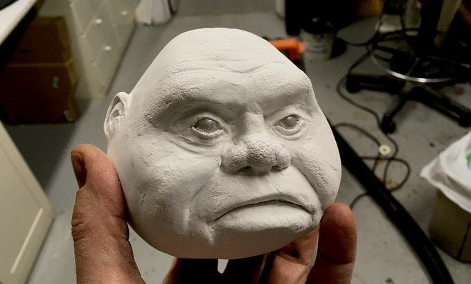 Puppets will be constructed of a wide variety of materials, including traditional paper mache like this villager.