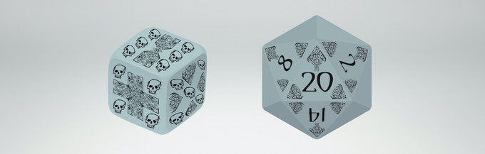 Mock-ups of custom d6 and d20 now in design.