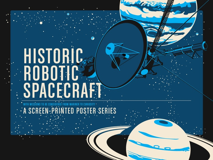 Five screen-printed posters celebrating the most popular and most notable robotic space exploration missions including, Voyager, Cassini, Curiosity, Spirit & Opportunity, Sputnik and LightSail.