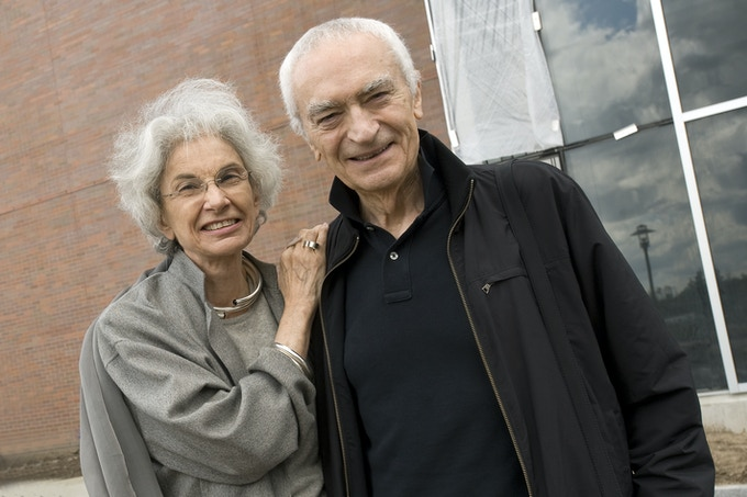 Lella and Massimo Vignelli visited the Vignelli Center for Design Studies while it was under construction. Photo: A. Sue Weisler, RIT University News