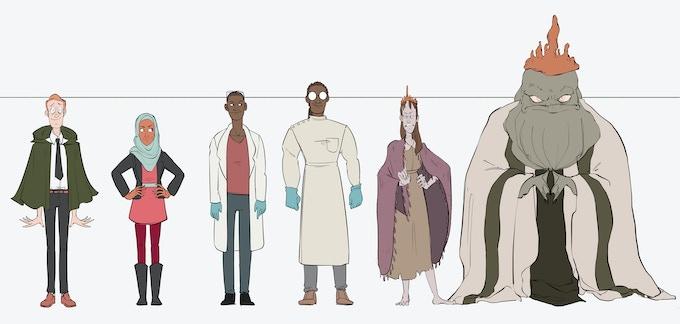 The original lineup for Innsmouth #1 (Randolph Higgle, Fatima Alhazrad, Dr. West, Dr. Herbert, Abigail Marsh, The Deep One)