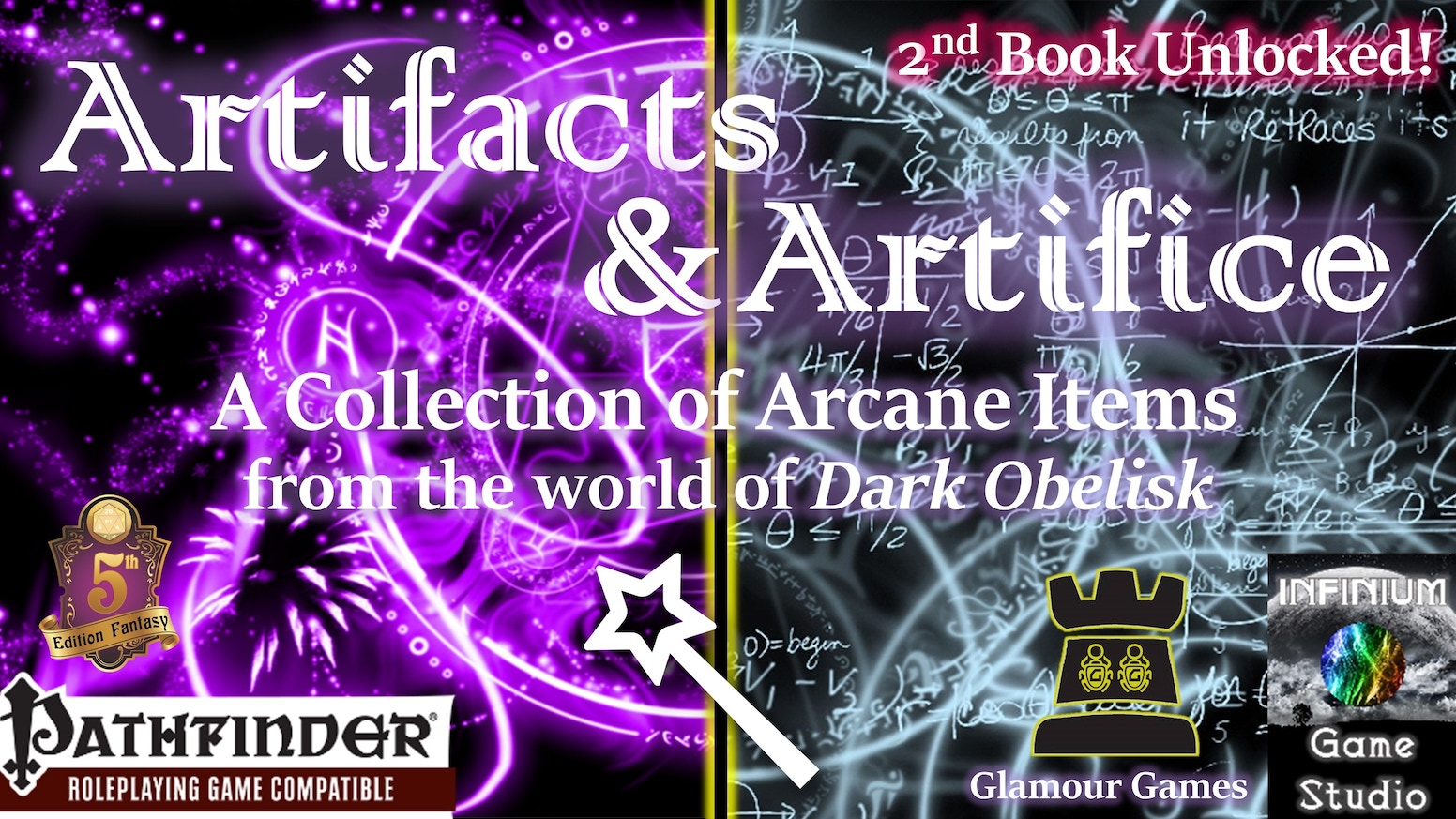 200+pp color PDF/hardcover with a wealth of magical items, each with quests, backstory, NPCs, and integration with the Dark Obelisk AP.
