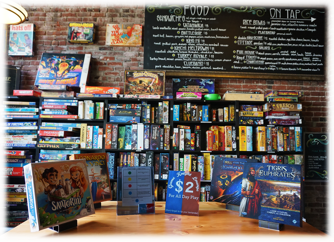 Use Massif Displays to highlight fun games to the patrons of your board game cafe.