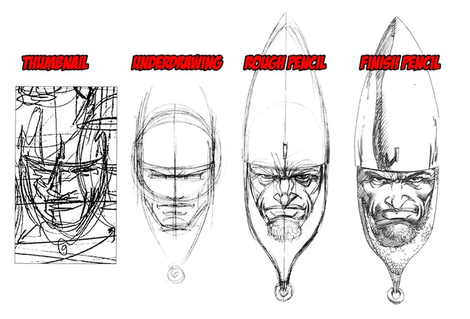 Learn the steps from the thumbnail sketch to final pencils.