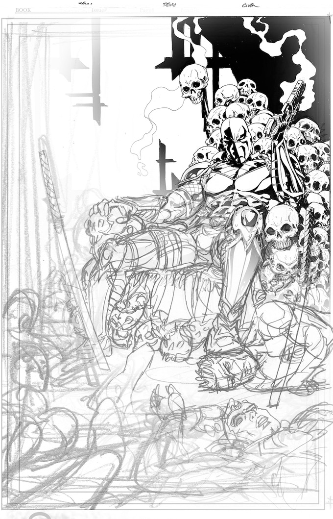 Thumbnail rough to final inks: Deathstroke cover!