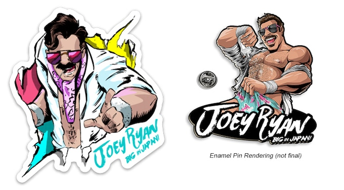 Joey Ryan: Big in Japan! Sticker & Enamel Pin!