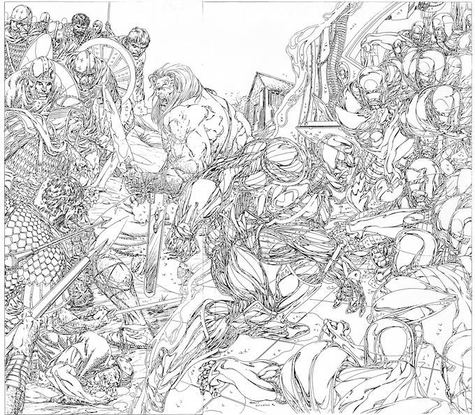"""""""X-O Manowar"""" wraparound cover, pencils."""