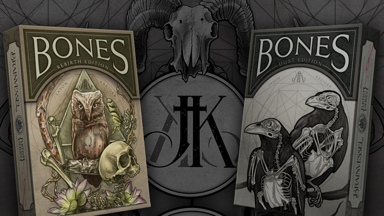 'Bones' is the first of Brain Vessel's Artist Series Playing Cards featuring the dark and naturalistic art of Jason Kreiger.