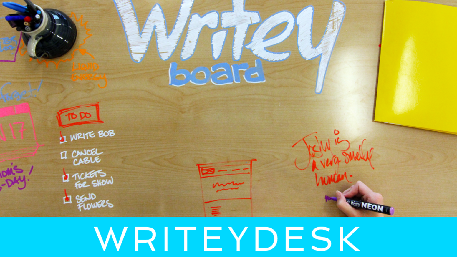 A sleek, modern workstation with a desktop that is 100% dry erase. It's the best thing to happen to desks since chairs!