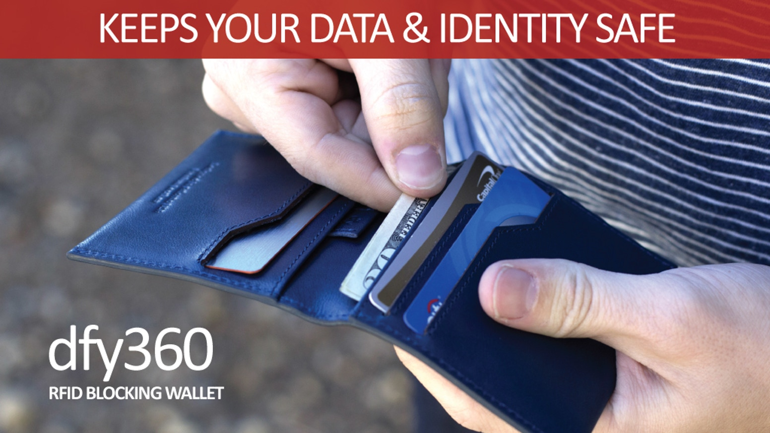 Keep your Identity and Data Safe with Triple Layer RFID Blocking Protection in a premium leather ultra slim profile.