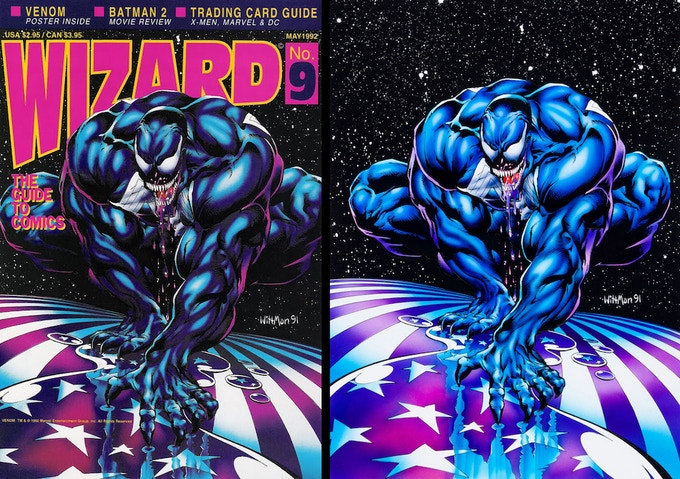 """Wizard Magazine #9 dressed cover and illustration by Bart """"Wittman"""" Sears."""