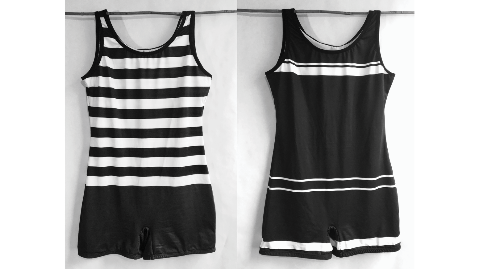 One-piece unisex swimsuits inspired by 1920s styles.  Made in the USA.