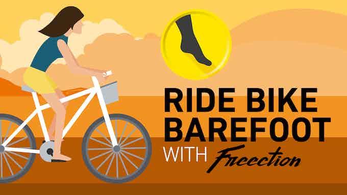 Ride bike barefoot