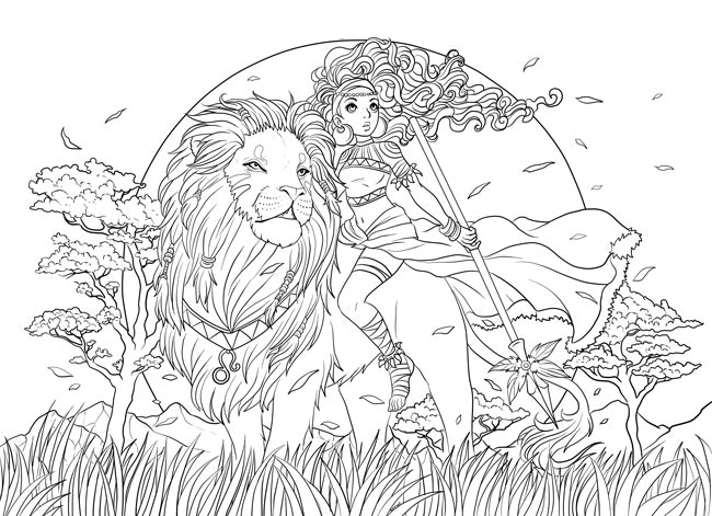 One of the coloringpages from the coloringbook