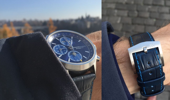 ZK No.1 - Blue Moon ETA Valjoux 7751 (TOP) Chronograph with Moon Phase and Full Calendar, 10 ATM, 41 mm