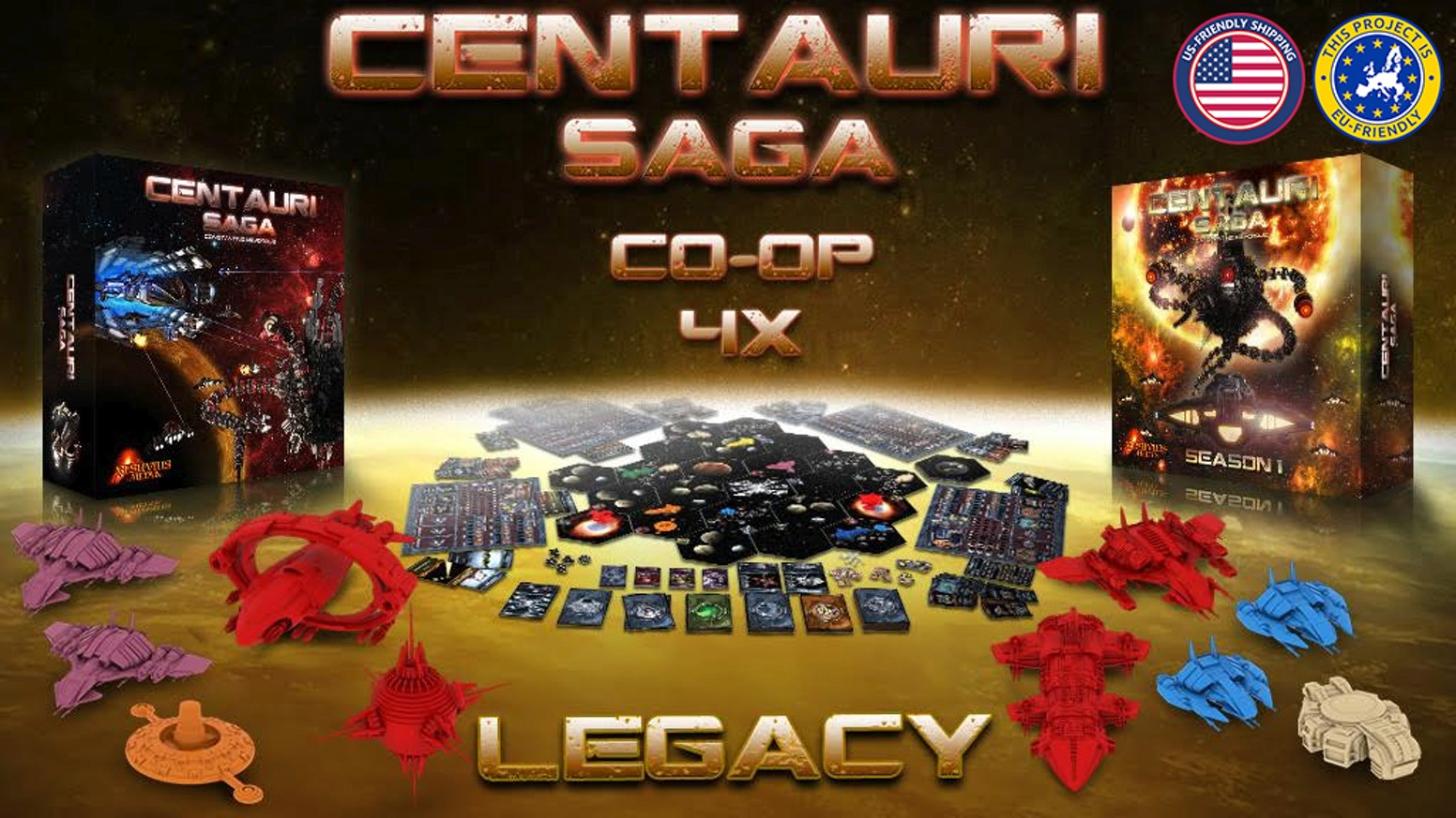 A Sci-fi, 4X, Co-op, LEGACY adventure board game for 1 to 4 players.