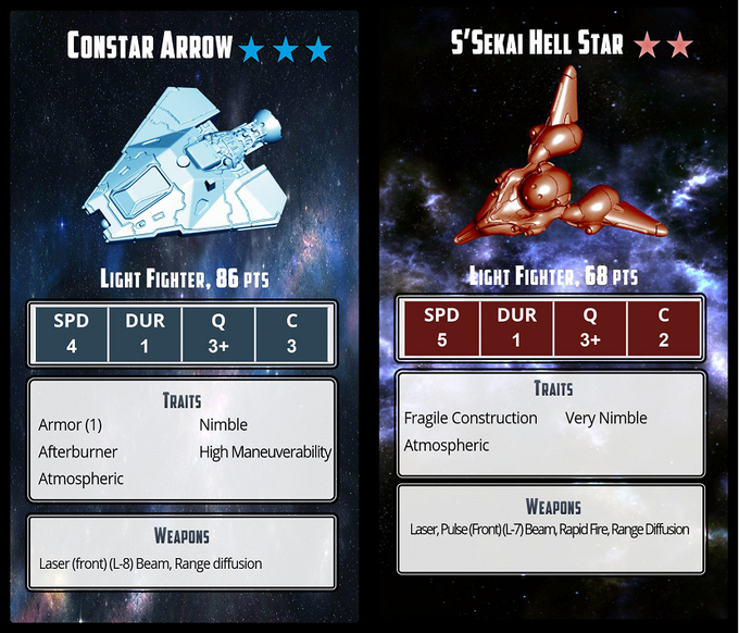 ConStar and S'Sekai light fighters