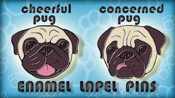 Cheerful Pug / Concerned Pug Enamel Lapel Pins