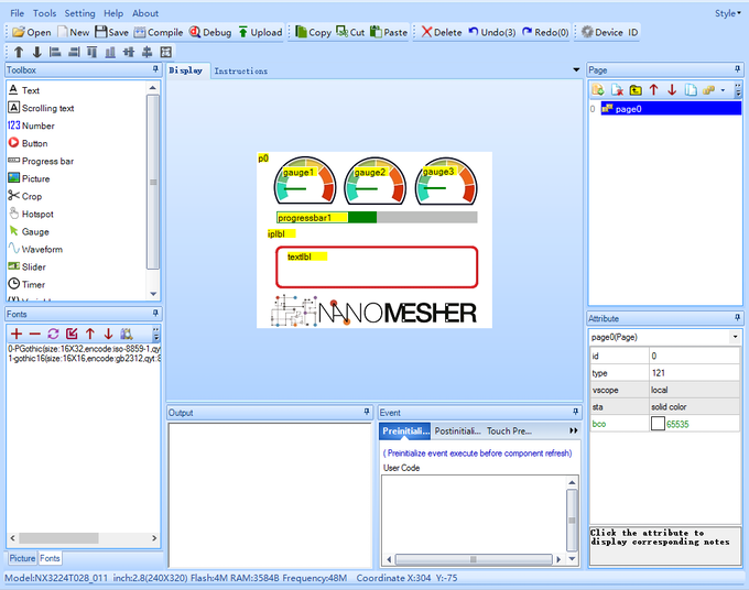 Using Nextion Editor to Design Interface