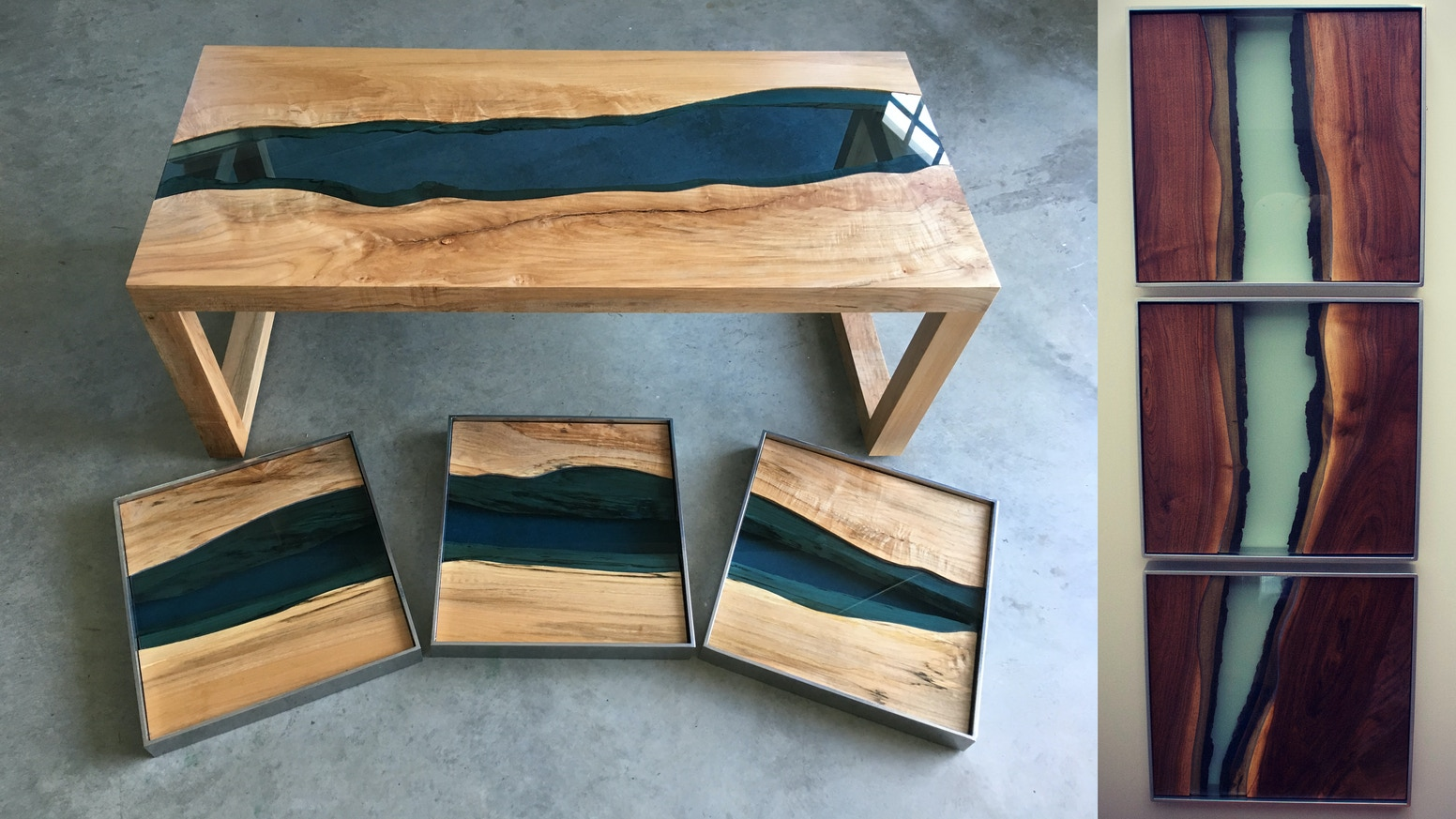 River Series Triptychs Amp Tables Natural Live Edge Wood