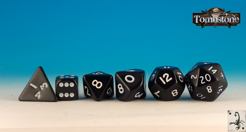 Tombstone dice set. Add £3 to your pledge.