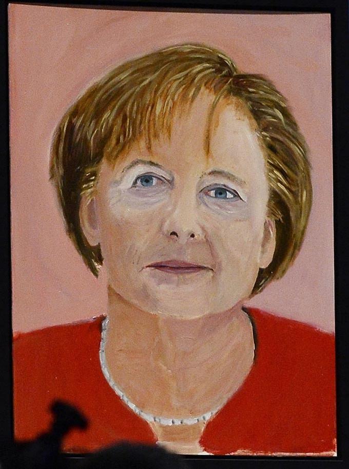 George W. Bush, early portrait of Angela Merkel (without side-eye), basically life-size