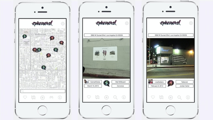 Ephemeral lets you link your pictures of art and ads to specific locations and tag them with information. You can scroll through images taken at the same location or featuring the same artist or advertiser.
