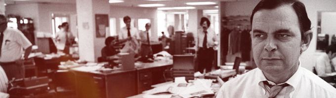 Gene Roberts in the Philadelphia Inquirer newsroom, 1973