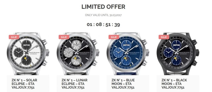 Pre-Sales on www.timeisyours.ch - Orders raised: 50'000.00 Swiss Francs