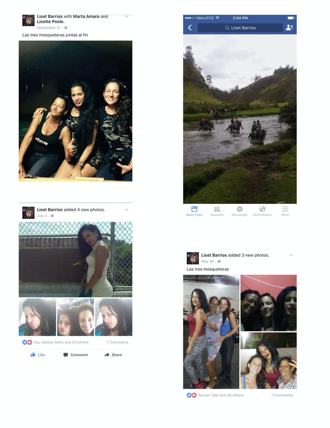 Liset's Facebook posts during the journey