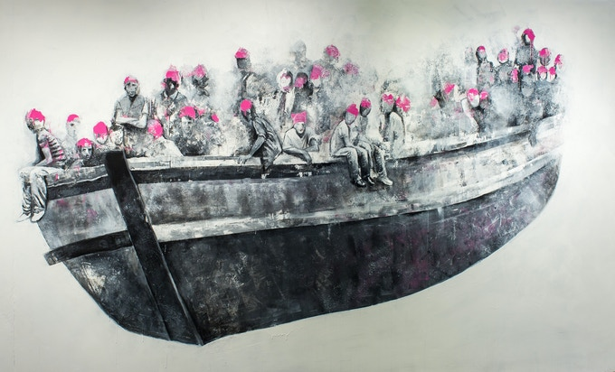 "Limited edition (1 of just 10 copies), A2 sized print entitled ""The Boat""* based on a mural by Syrian artist Abdalla Omar"