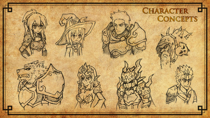 Original early concept character sketches