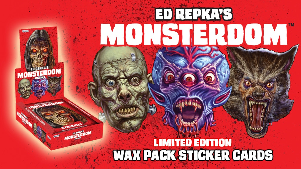 Ed Repka's MONSTERDOM Wax Pack Sticker Trading Card Set project video thumbnail