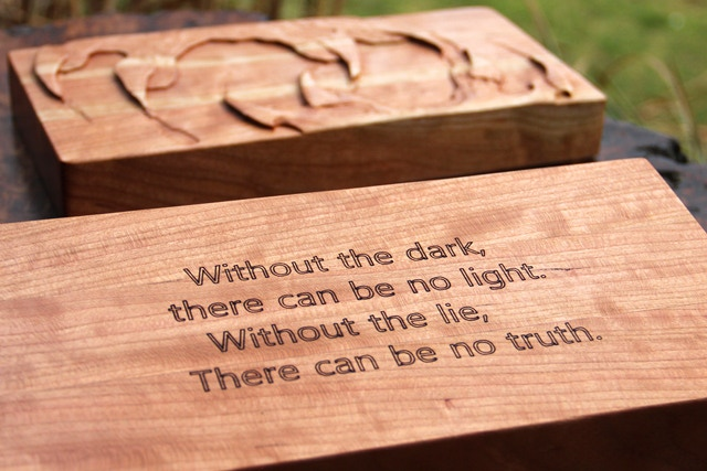 Engraving on a Cherry Skirmish Box