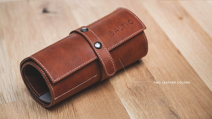 Brown leather watch roll
