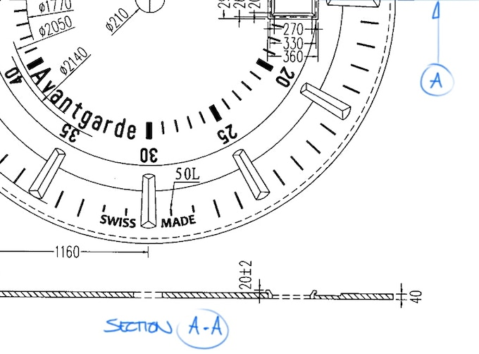 Dial (technical) drawing