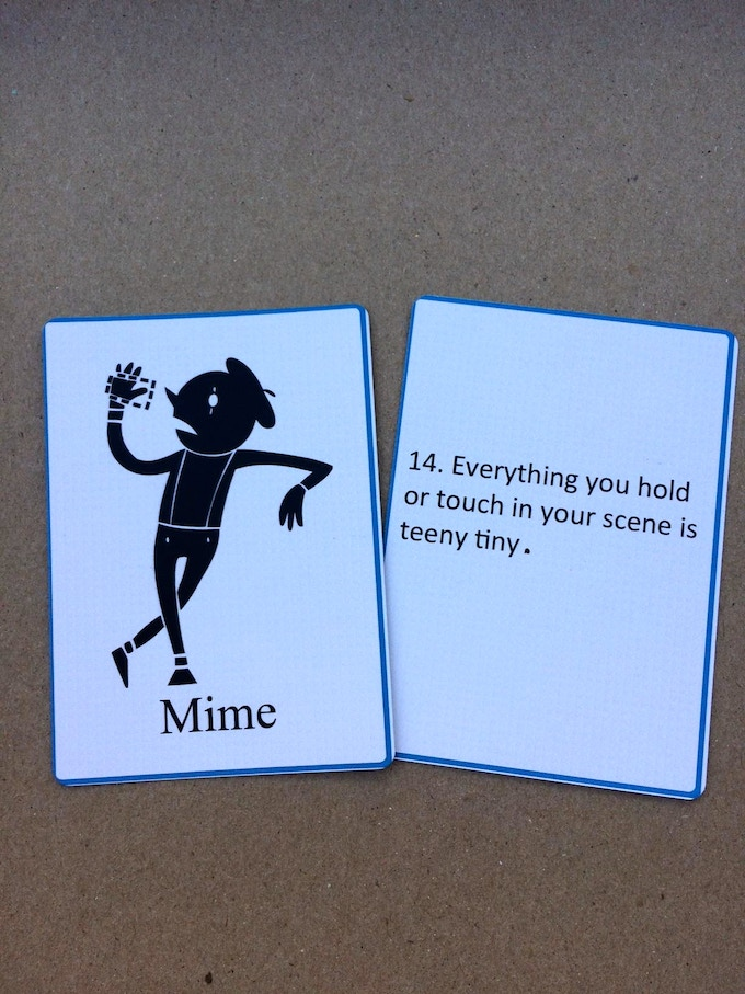 Mime Card - includes things that you'd have to mime in the scene. Also known as Object Work.