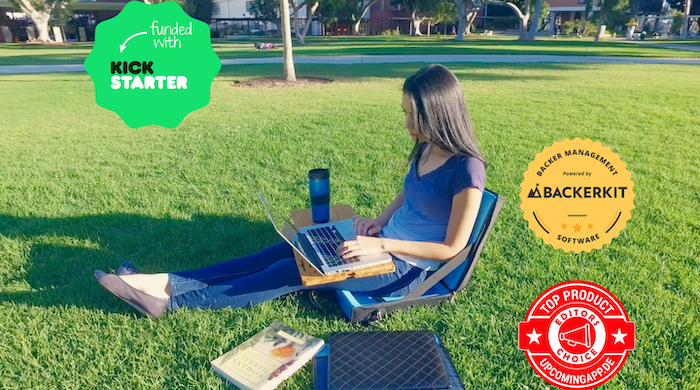 The most useful, complete 3-in-1 mobile office with a lapdesk, chair and bag that allows for work and play on-the-go. Click on the Follow along button and grab yours today!